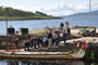 A group of school children welcome us at Lochaline, Scotland.